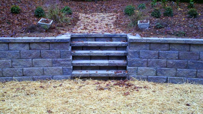 replace wood timber steps with block retaining wall steps