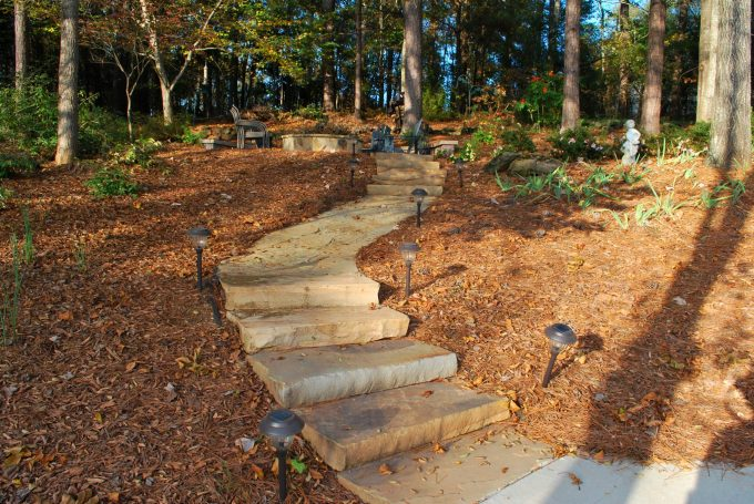 flagstone and rock slab path