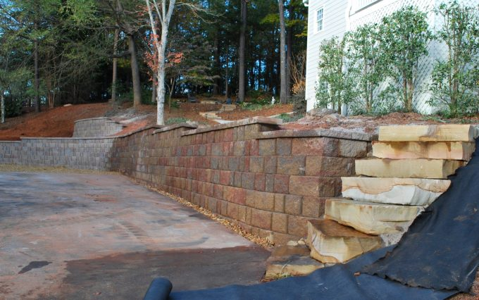 rock slabs and retaining wall