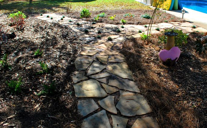 flagstone wlakway through garden