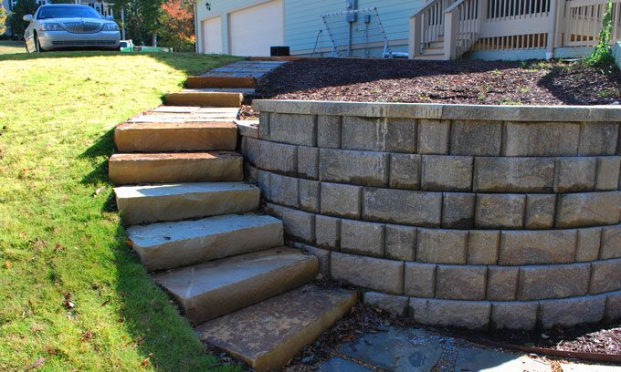retaining wall with stone steps