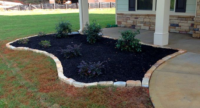 curved rock stone border