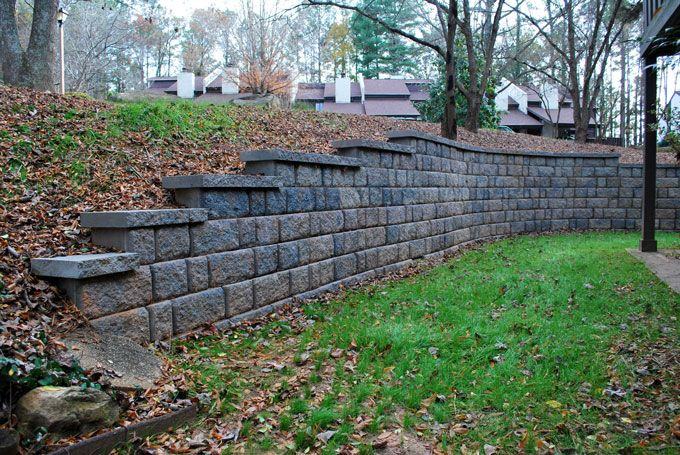 block retaining wall with caps