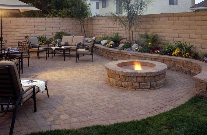 seat wall, fire pit and patio