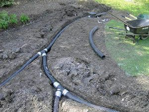 yard drains with corregated pipe