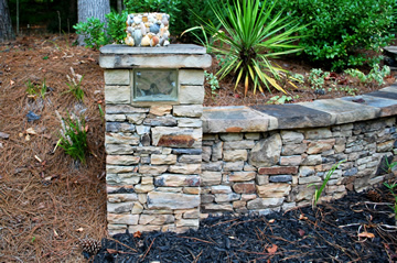 stack stone bench wall with column