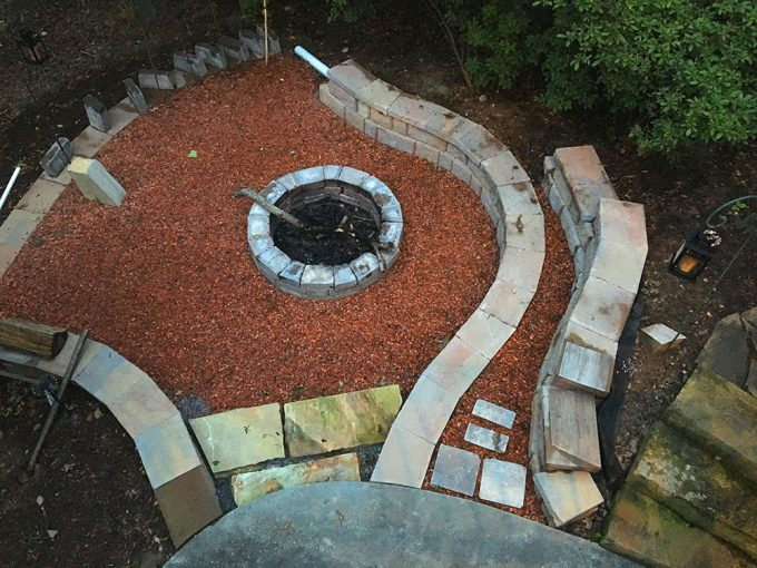 build a fire pit into existing landsacpe hillside
